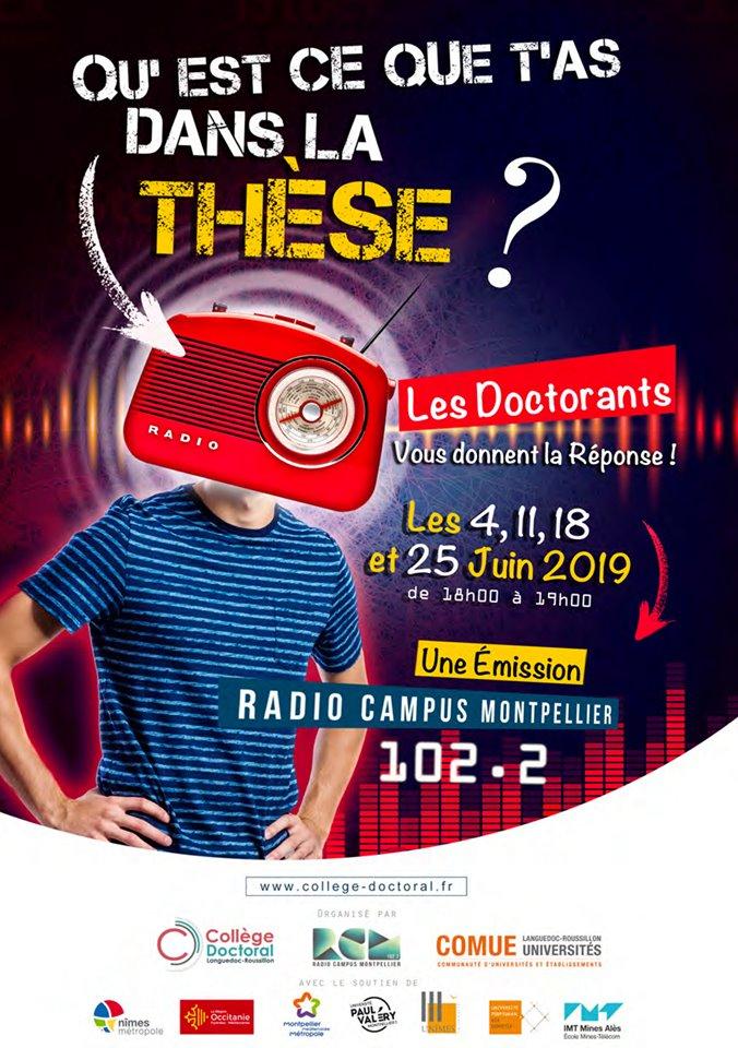 Affiche Qu'est ce que t'as dans ta thèse ? Un projet de Radio Campus Montpellier